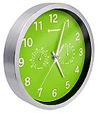 Bresser Funkuhr Wanduhr MyTime Thermo-Hygro mit geräuschlosem Funkuhrwerk, Edelstahlrahmen und Anzeige für Temperatur und Luftfeuchtigkeit, grün