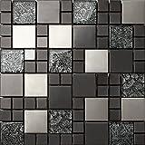 Glas und Edelstahl Mosaik Fliesen Matte in Schwarz und Silber 30cm x 30cm x 8mm Matten (MT0002)