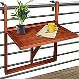 Deuba Balkonhängetisch Klappbar FSC-zertifiziertes Akazienholz Hängend 64 x 45 cm Balkontisch Hängetisch Balkon Geländer