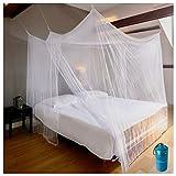 EVEN NATURALS Luxus MOSKITONETZ Doppelbett, XL Mückennetz für Bett, feinste Löcher, rechteckiger Netzvorhang Reise, Insektenschutz, 2 Einträge, einfache Anbringung, Tragetasche, Keine Chemikalien