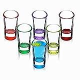 KADAX Schnapsgläser, 6er Set, 28ml, Shotgläser, Stamper für Alkohol, Brand, Shot, Vodka, Party, Schnapsglas, Kurze Gläser, Sambuca Gläser, Pinnchen Gläser, Shotbecher (Mehrfarbig)