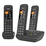 Gigaset C575A Trio, 3 Schnurlose Telefone mit Anrufbeantworter, großes Farbdisplay mit aktueller Benutzeroberfläche, Adressbuch für 200 Kontakte, Jumbo-Modus, Anrufschutz, schwarz