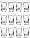 12 Schnapsgläser Shotgläser Set Glas 4cl - Standfest - Spülmaschinenfest - Pinnchen Gläser für Tequila Wodka