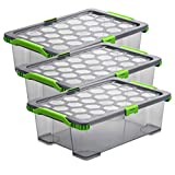 Rotho Evo Total Protection 3er-Set Aufbewahrungsbox 30l mit Deckel, lebensmittelechter Kunststoff (PP) BPA-frei, anthrazit/transparent, (59,0 x 39,5 x 18,5 cm), 59 x 39