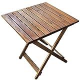 Rustikaler Beistelltisch aus Holz | ideal für Balkon und Camping | Klapptisch platzsparend und klein | Akazienholz Braun 50x50x50 cm