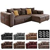 Cavadore Ecksofa Mavericco/Polster Eck-Couch mit Kissen in Antik-Leder-Optik und Holzfüßen/Longchair rechts / 285 x 69 x 170 / Mikrofaser Braun