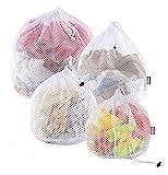Yoassi 4 Stück Hochwertig Wäschesack Waschmaschine mit Kordelstopper Wäschebeutel Wäschenetze für Waschmaschine, Unterwäsche, Babywäsche, Socken, Kaschmir.