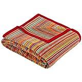 Ibena Malang Kuscheldecke 150x200 cm – Wohndecke bunt, fröhliche Streifendecke aus hochwertiger Baumwollmischung, kuschelweich und angenehm warm