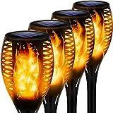 Solarlampen für außen, 4 Stück Flammenlicht Gartenfackeln IP65 Wasserdicht Solar Flamme Fackeln Lichter Solarleuchten mit Realistischen Flammen Automatische EIN/Aus
