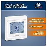 Digital Raumthermostat DRT-TS mit Touchscreen für elektrische Heizungen, Fußbodenheizung, Programmierbares Wandthermostat Unterputz 230V mit Tages/Wochenprogramm von imowell