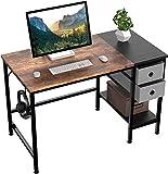 HOMIDEC Pc Tisch, Computertisch mit 2 Schubladen, Schreibtisch Bürotisch Schreibtisch Holz, Arbeitstisch Büromöbel fürs Büro, Wohnzimmer, 100 x 60 x75cm