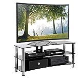 1home GT6 LCD-/Plasma-TV Rack Glas Tisch Ständer LCD Rack LED Tisch Fernsehtisch Schwarz Glas DREI Ablagen 32-70 Zoll