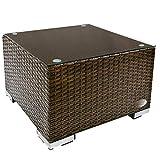 RS Trade 'Toscana' Polyrattan Beistelltisch mit verstärktem Alu-Gerüst und Temperglas Tischplatte (bis 90 kg als Hocker nutzbar), integrierte Spannbänder und höhenverstellbare Standfüße, Java Braun