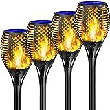 Shinmax Garten Fackeln Solarleuchte Solar Fackeln IP65 Wasserdicht Solar Flammenlicht,33LED Fackeln Garten LED Außen Auto Ein/Aus (Licht Sensor) Fackel Solar Gartenlicht für Balkon,Rasen【2021-Version】