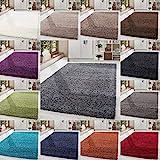 HomebyHome Shaggy Hochflor Langflor Einfarbig Günstig Teppich für Wohnzimmer mit Oeke Tex Zertifiziert 14 Farben und 17 Grössen, Größe:160x230 cm, Farbe:Grau